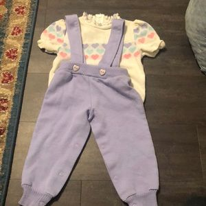 24m bullfrog knits sweater overalls hearts vintage